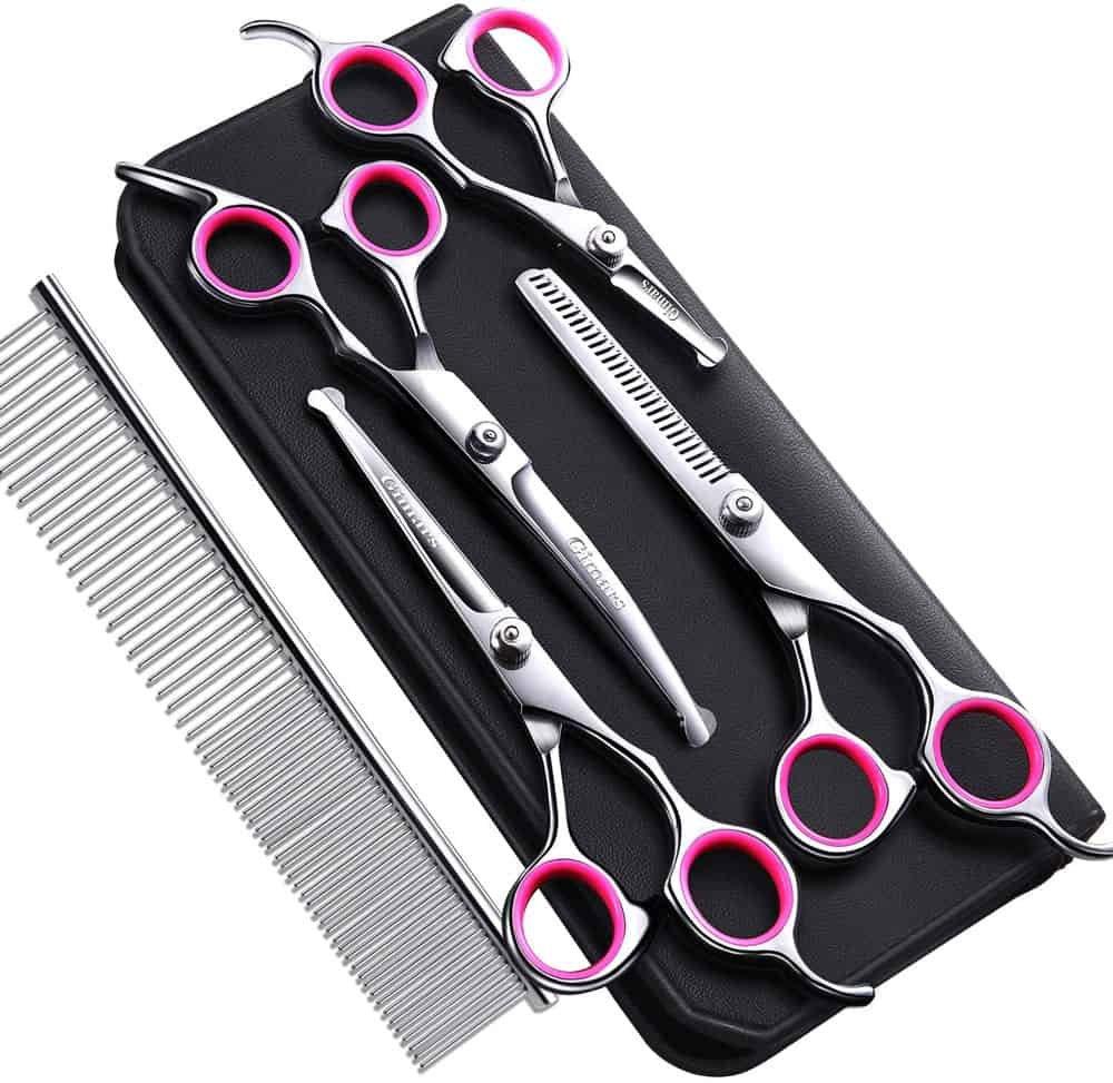 Gimars 4CR Stainless Steel Dog Grooming Scissors Kit