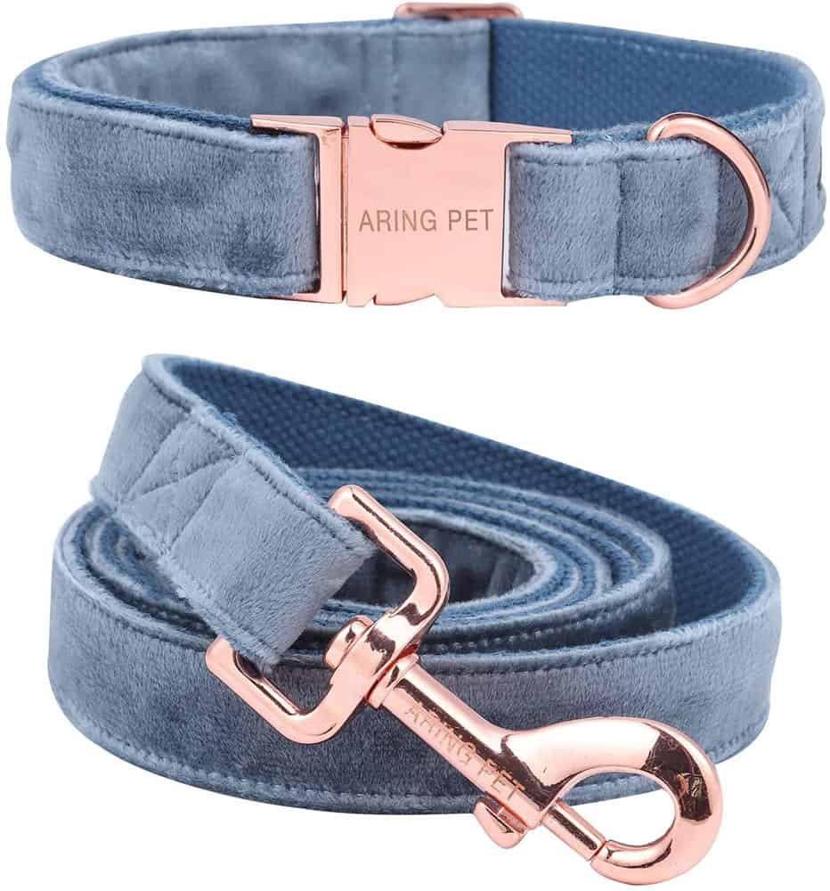 Aring Pet Velvet Dog Collar & Leash Set